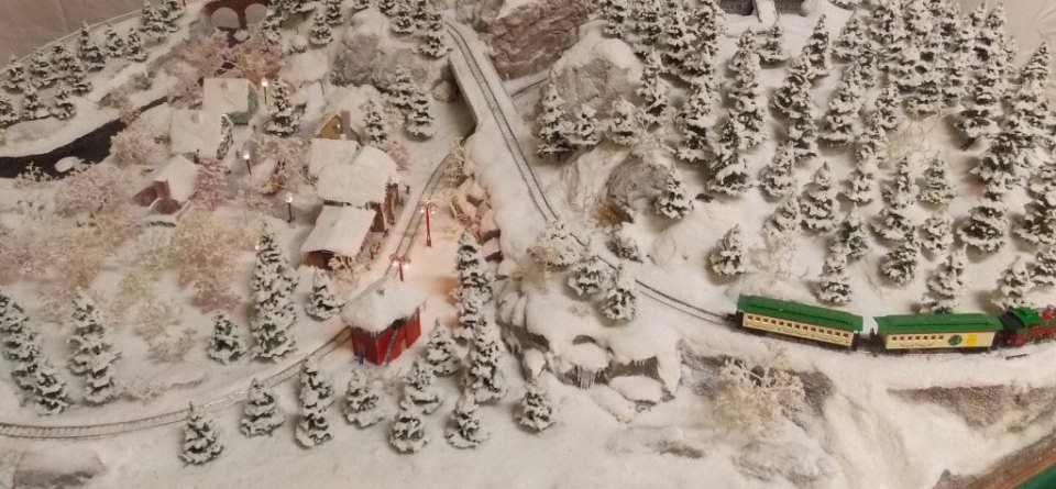 Christmas model train diorama